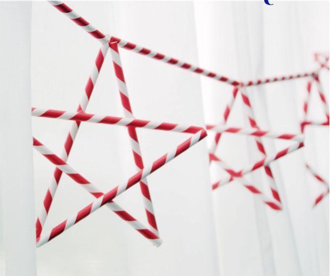 paper straw star garland   Brit + Co.