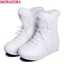 MORAZORA 2017 nova Rússia inverno botas de neve pele grossa dentro de sapatos de plataforma mulher cunhas das mulheres do salto tornozelo botas sapatos femininos alishoppbrasil