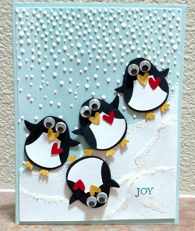 День, живая открытка своими руками с тремя пингвины