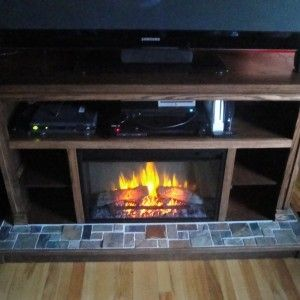 Contemporary Lowes Electric Fireplace Designed With Open Shelving for mid century house decor