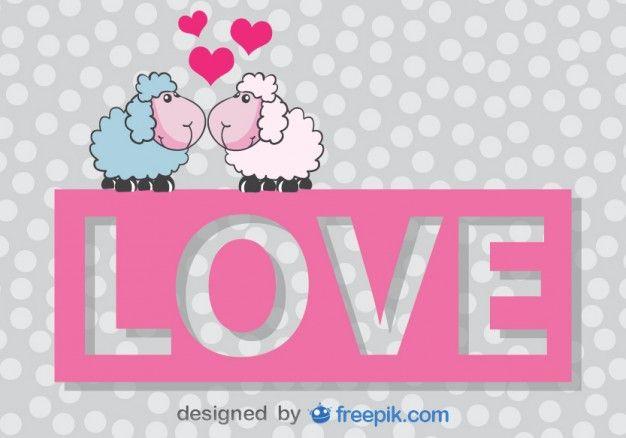 Cartoon Sheep Kissing Vector Valentine's Card