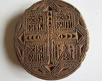antique hand carved wooden Orthodox bread seal, stamp, prosphora