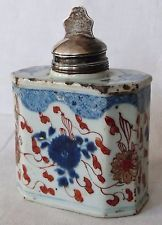 Antique 18th c Chinese Export Porcelain Imari Tea Caddy & Sterling Silver Cover