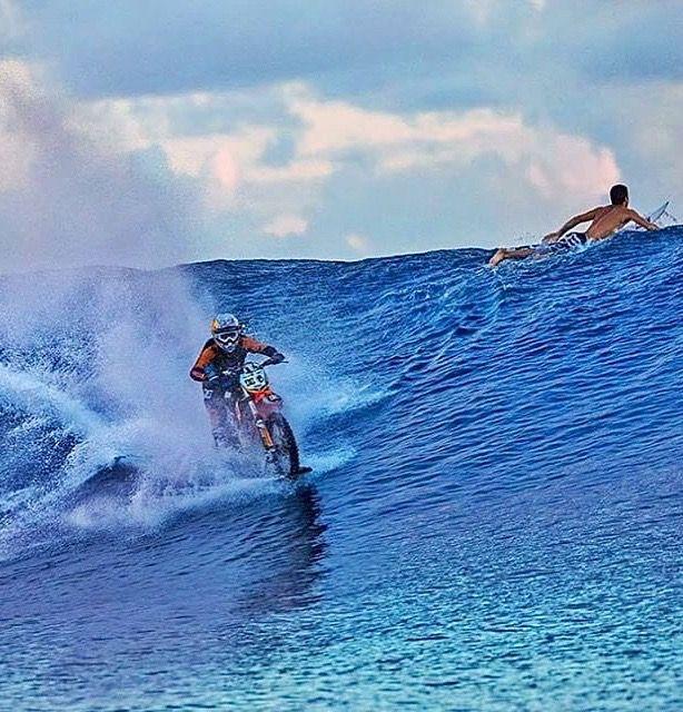 Robbie Maddison surfing a motocross bike in Tahiti