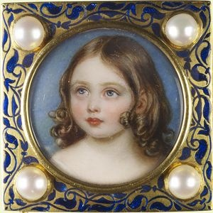 On May 24, 1845, Prince Albert presented his beloved wife, Queen Victoria with a gold, enamel and pearl bracelet created from miniature portraits of their children. This particular link depicts Victoria, the Princess Royal, the first of the couple's children. The portrait is the work of William Essex (1784–1869) who worked the enamel himself. It is signed, dated and inscribed on the reverse: Victoria / Princess Royal/ 1845/Painted by W. Essex/ Enl painter to HRH Prince Albert.
