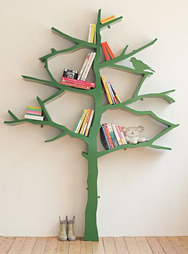 Tree Bookcase for kids - I LOVE this. So clever... turning books