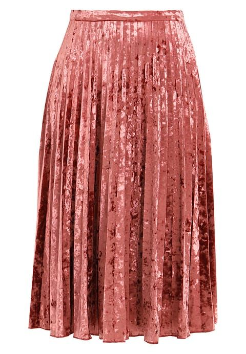 Raspberry pleated velvet midi skirt - Glamorous