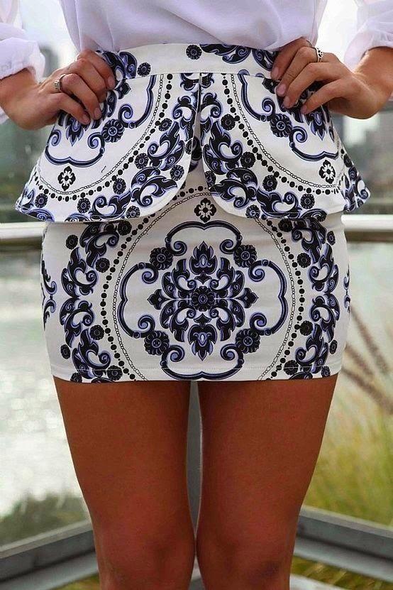 Adorable Printed Peplum Skirt #skirt