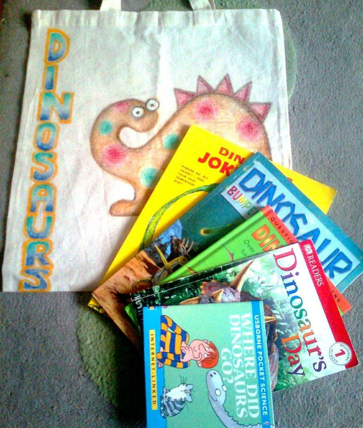 The beginnings of a dinosaur story sack. Lots of room for non fiction texts and dinosaur toys.