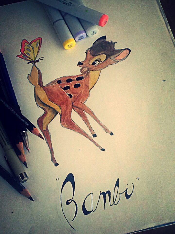 "Drawing by Emma Rock ""Disney's Bambi"" leave suggestions for drawings in the comments!"