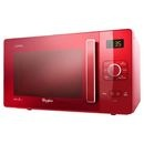 Red appliances bring instant character into a monochrome kitchen. Check out the Whirlpool Microwave in Red.