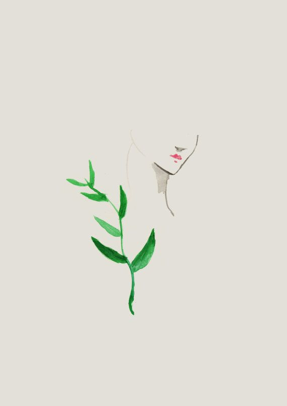 Woman portrait with green leaf. You can purchase this pictures as an art print, made from original watercolor painting by Susanne Riber. Available via my shop. Watercolor, art, decor, boligindretning, susanneriber.dk, minimal.