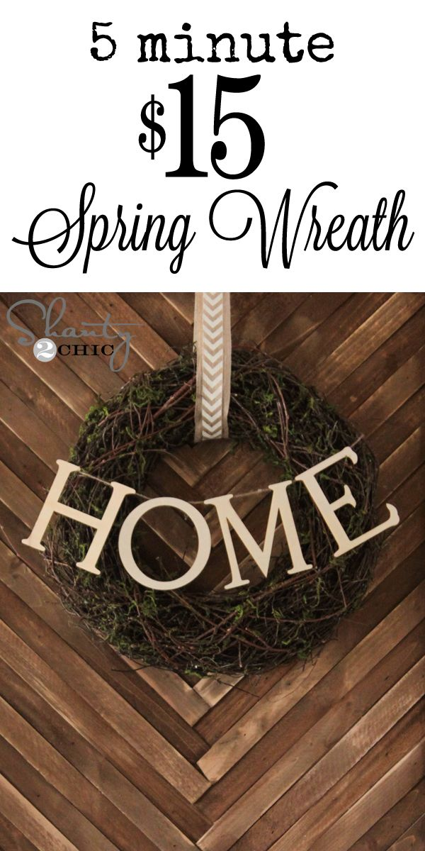 Super cute DIY Spring Wreath! So cheap and SO easy… LOVE it! www.shanty-2-chic.com