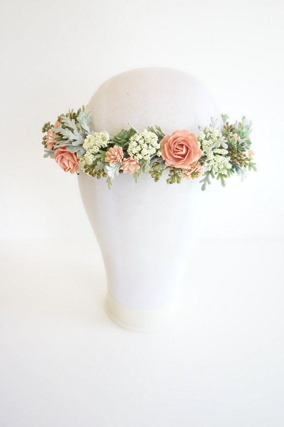 Flower Crown Peach Flower Crown Boho by MoonflowerNatureArt