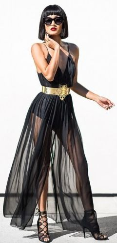 Black Sheer Dress And Gold Belt Outfit Idea