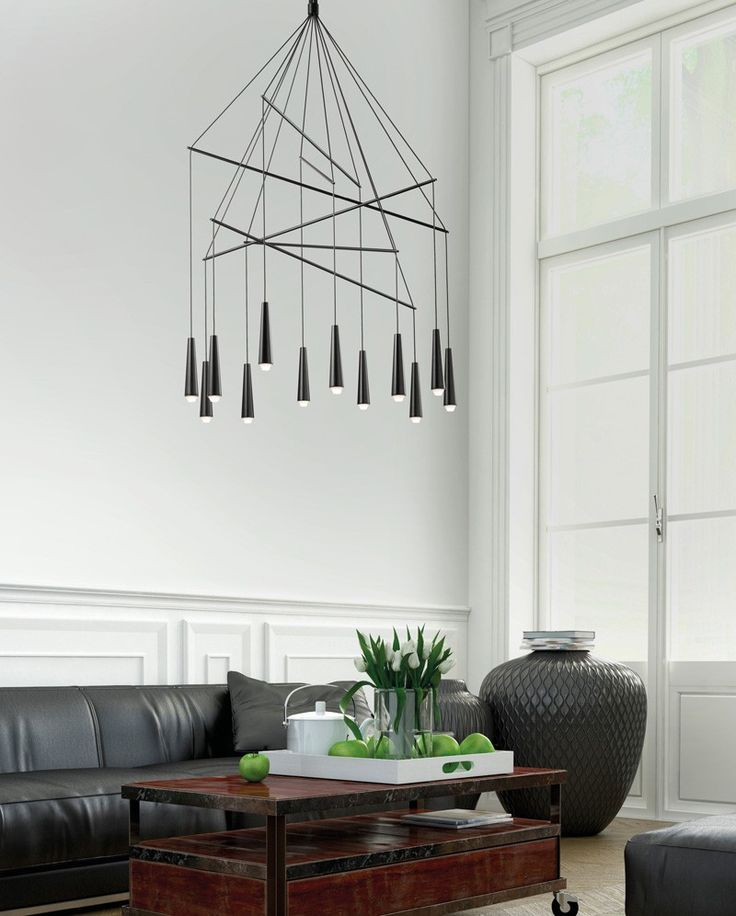 this minimalist chandelier is made from conical metallic elements that hide led lights within - Home Design Lighting