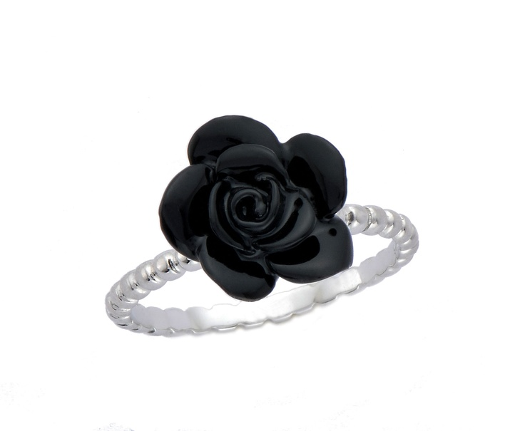 Silver ring with black rose