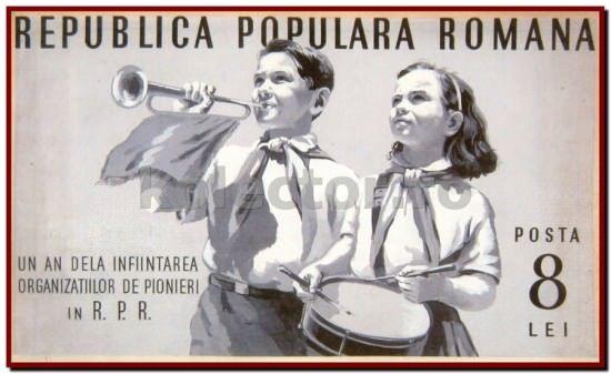 """1950, Macheta timbrului de 8 Lei """"Pionieri"""", machetator Pavlin Nazarie"""