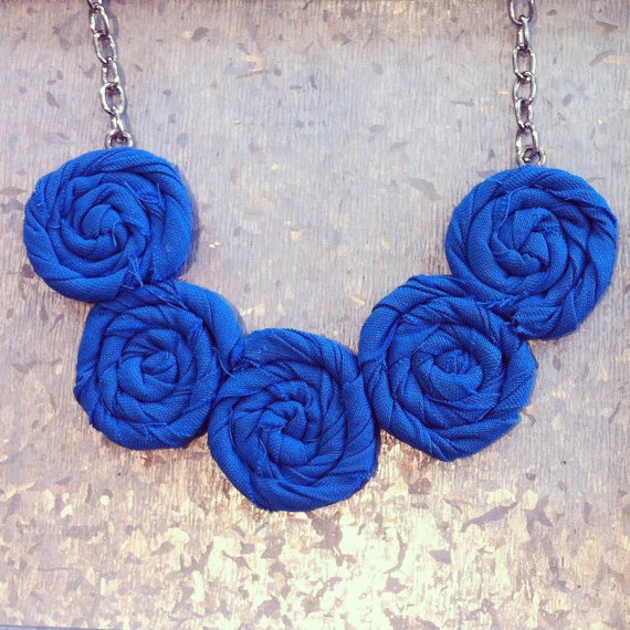 Scuba Blue Rosette Necklace  Summer Elegance by TheGentleFlower