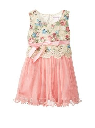 55% OFF Mini Treasure Kids Girl's Willow Floral Tulle Dress (Pink)