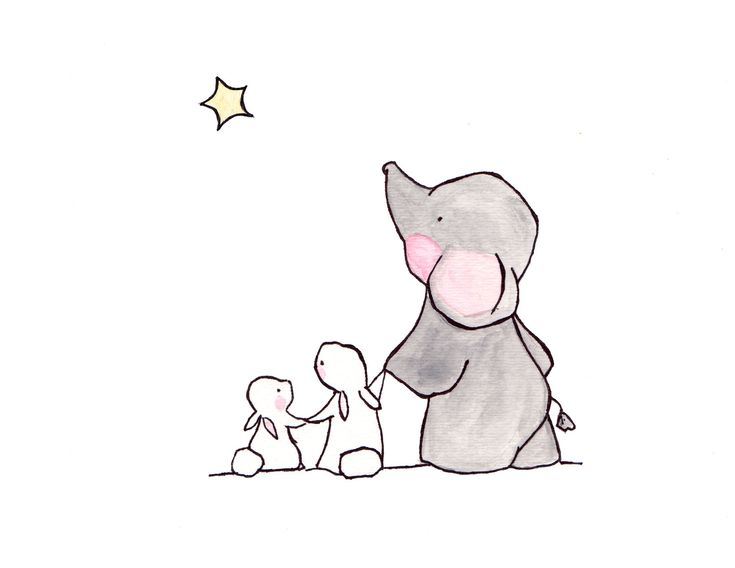 Twinkle Twinkle Little Star — archival print, elephant nursery, childrens art, kids room decor, kids wall art, child decor, baby art
