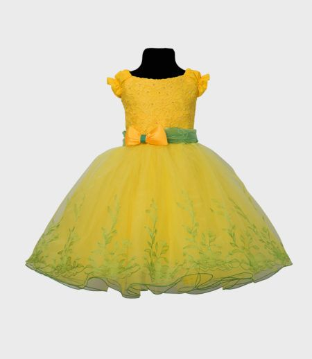 Rochie de fetite galben cu verde Model 140