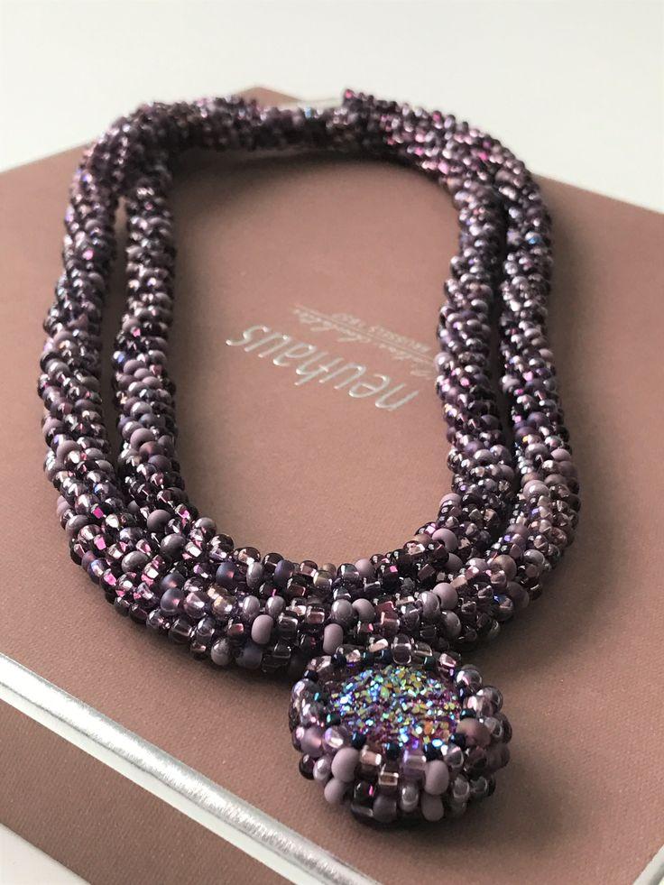 Kumihimo Necklace&Pendant - Lilac Joy  - Just So Hobbies Design