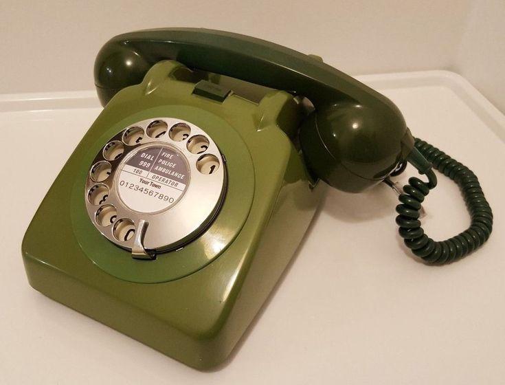 Original Vintage Retro 1960's GPO 706 Rotary Dial Green Telephone *Restored*