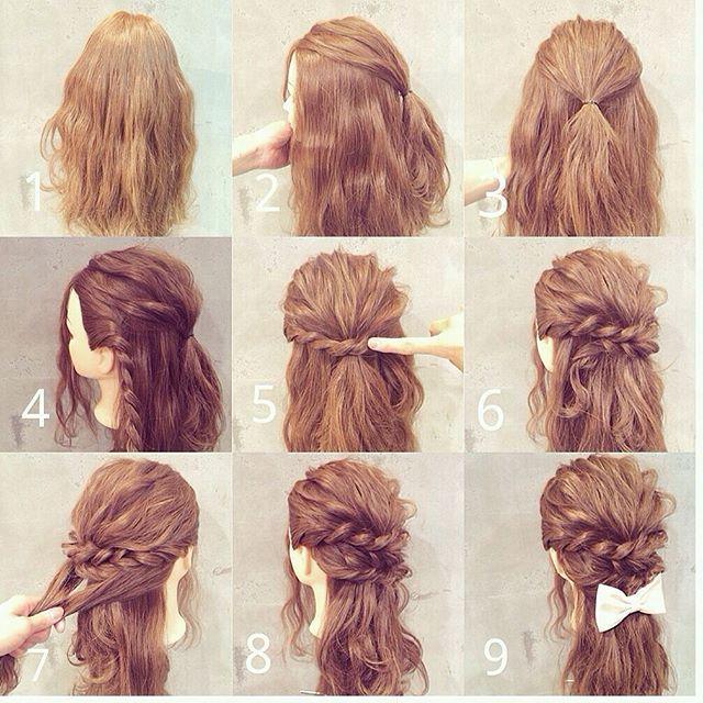 .  アレンジ 解説  .  皆さん、こんばんわ .  簡単アレンジ解説シリーズ人気だったのでハーフアップバージョンお載せします✨ .  トップをくくりボリュームをだして .  サイドを編みこんでピンでとめて .  耳後ろの毛をまとめて完成です .  是非、お休みの時に試してみてくださいね✂︎✨✂︎✨ .  担当  衣川 光  @album_hair  #ヘア#ヘアアレンジ#おしゃれ#かわいい#髪#髪型#アレンジ#三つ編み#巻き髪#編み込み#ヘアセット#ヘアカラー#ヘアアレンジ解説#ヘアアレンジやり方#グラデーションカラー#ツインテール#リボン#hair#hairarrange#set#beauty#make#hairset#簡単アレンジ#アレンジ講習#ヘアケア#モデル#浴衣アレンジ#ウェディング#ar#