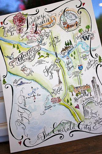 Illustrated Seattle Wedding Map
