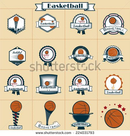 Vector Set. Basketball League Champions Labels with a VIntage Style - stock vector