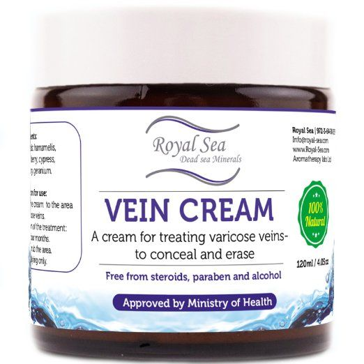 Royal Dead Sea Vein Cream to Conceal and Erase Varicose / Spider Veins Treatment, Reduce Phlebitis, Thrombophlebitis, Broken Legs Capillary Works 4oz /120ml. Use the powerful combination of ingredients of Royal Dead Sea Cure Vein Cream / Varicose Veins cream and get rid of those unsightly spider veins and damaged capillaries easily. Contains Dead Sea's unique composition of natural minerals! Among 26 essential Dead Sea minerals, 12 are unique and don't exist in any other ocean in the world.