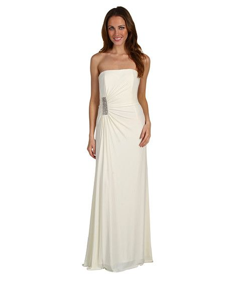Laundry by Shelli Segal Waterfall Draped Gown Pearl - 6pm.com
