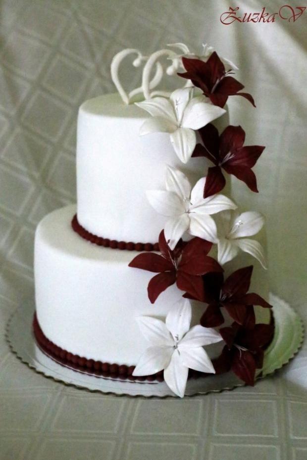 Svadobná - ľalie torta, svadobné