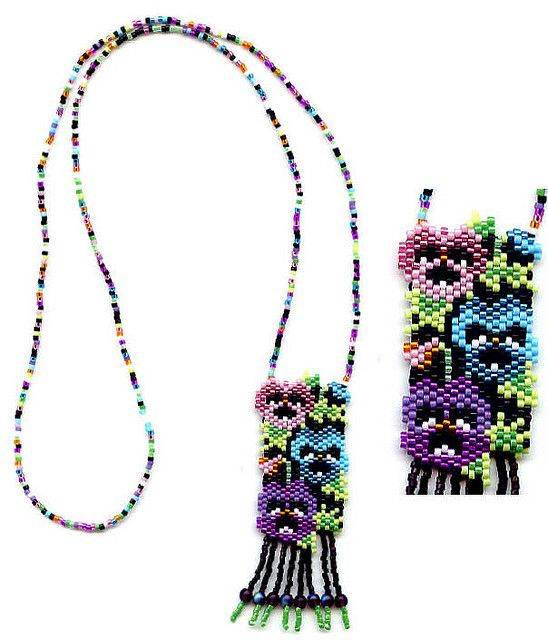 Pansies Beaded Necklace