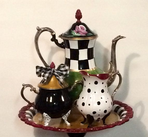 Send me YOUR tea set, and I will transform it into a work of art!!  This customer found a cheap set on shopgoodwill.com, and sent it to me at my studio. She opted for colors and patterns similar to the set I have pictured in my banner. Those were my marching orders and heres the result!  Totally amazing and the customer was blown away! ~~~~~~~~~~~~~~~~~~~~~~~~~~~~~~~   Not for sale. But send me yours and Ill transform it!  Yes, this is a silver tea set. Sent to me by a customer wanting me to…