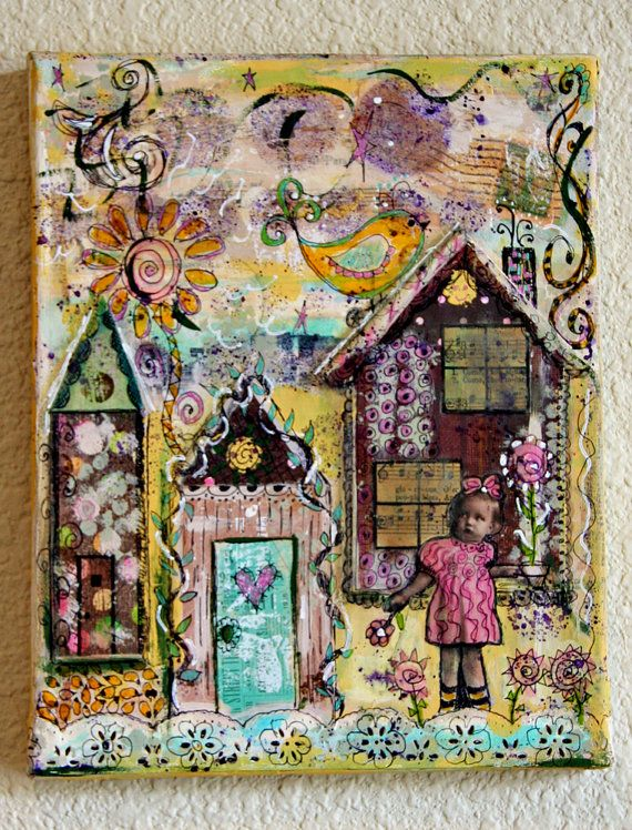 Little County Girl Original Mixed Media Collage