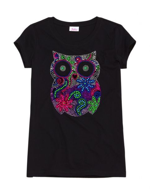 Neon Owl Graphic Tee | Girls Animals Graphic Tees | Shop Justice