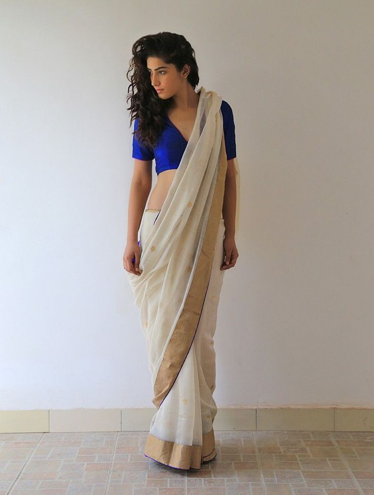 Buy Ecru Gold Midnight Blue Gharchola Chanderi & Zari Saree By Raw Mango Online at Jaypore.com