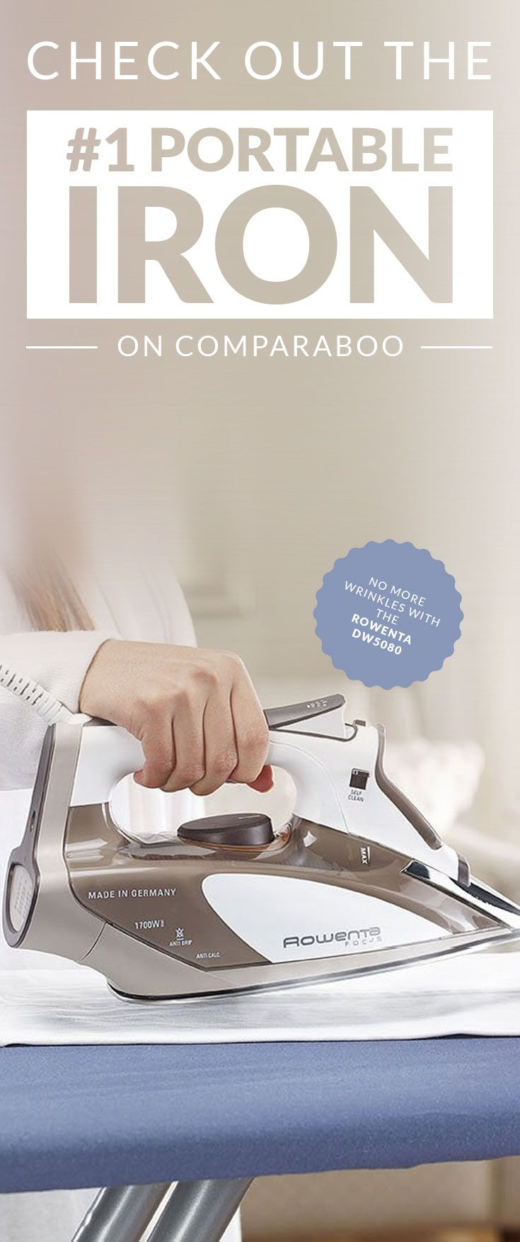 """Comparaboo's #1 top rated portable iron is the """"Rowenta DW5080 Focus Auto-Off 400-Hole Stainless Steel Soleplate."""" It has advanced steam distribution, a self flushing water tank, 3 way auto off, and produces a powerful shot of steam for difficult fabrics. See more features and the other top portable irons at www.comparaboo.com  
