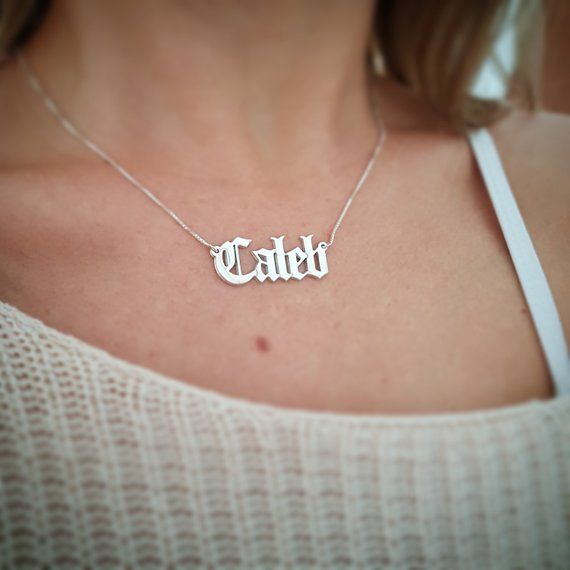 Personalized Sterling Silver Old English Name Necklace Caleb
