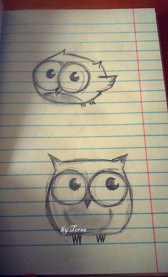 owls, sketches, big eyes