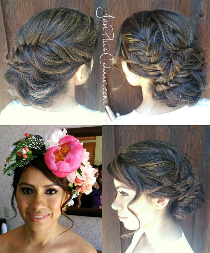 Wedding updo with a fishtail braid detail and floral crown