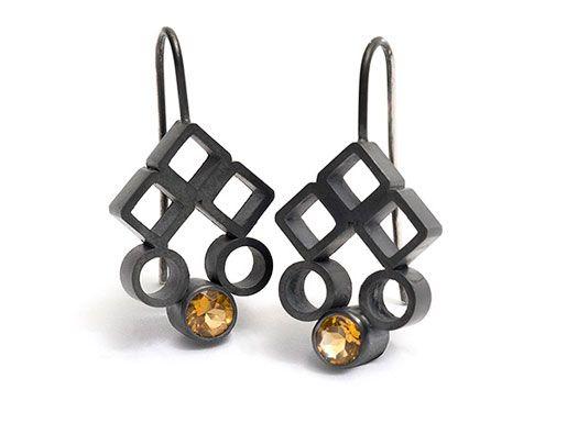Melanie Katsalidis / oxidised silver and citrine earrings / via Pieces of Eight Gallery