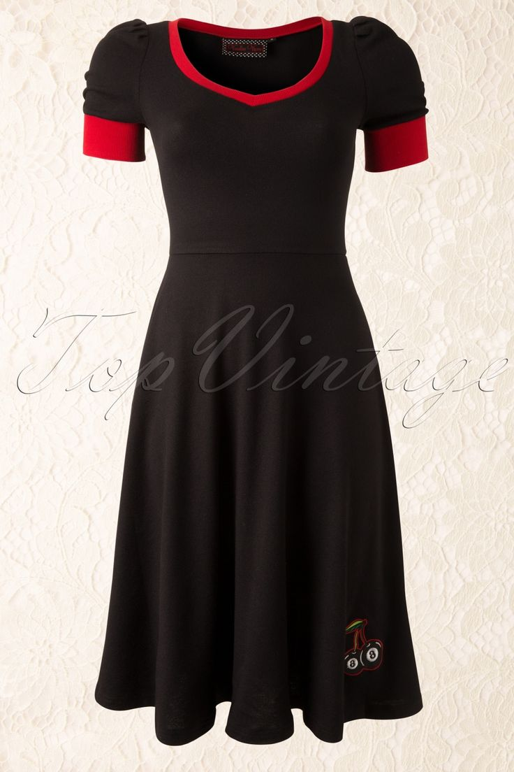 Vixen - 50s Cherry Swing Dress Black