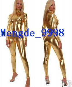 NEW-SHINY-GOLD-METALLIC-SEXY-BODY-SUIT-CATSUIT-COSTUMES-With-Long-Zipper-X208