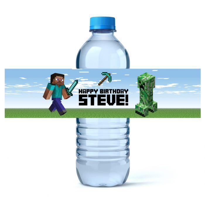 Minecraft Birthday Water Bottle Labels - iCustomLabel ...