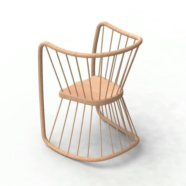 Rocking render. 13 actually. Spliced together.  These are only concepts so I'm not paying too much attention to material and grain direction.  I never noticed it when rendering each frame individually but because of the way I applied the material to the file it's not actually moving with the chair.