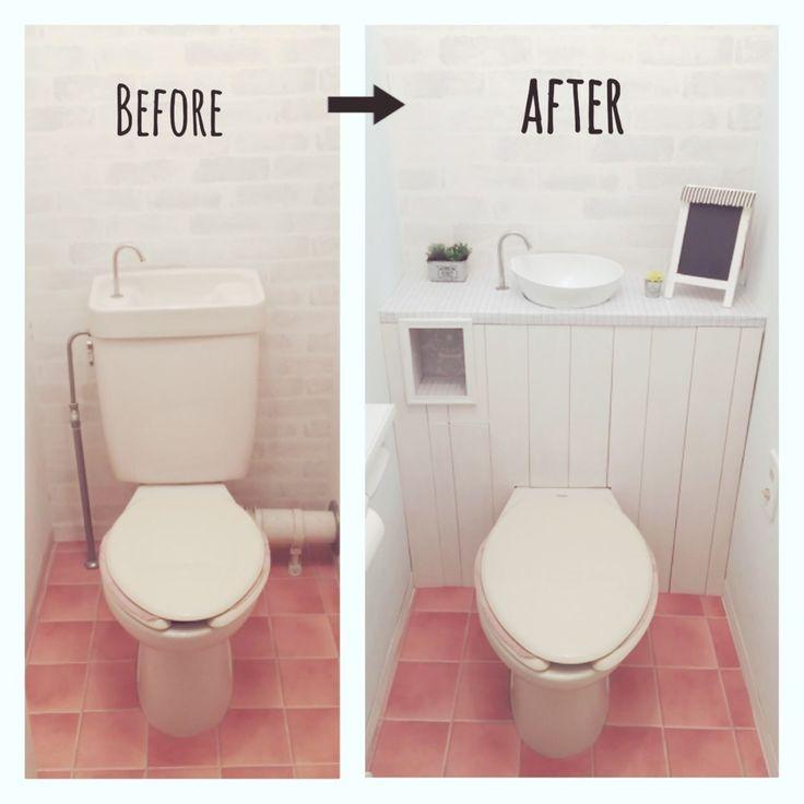 使ってないカラボも 再利用 昭和な 古〜いお手洗も 憧れのタンクレストイレみたいに変身! ちょっぴし長いけど お付き合い下さい!