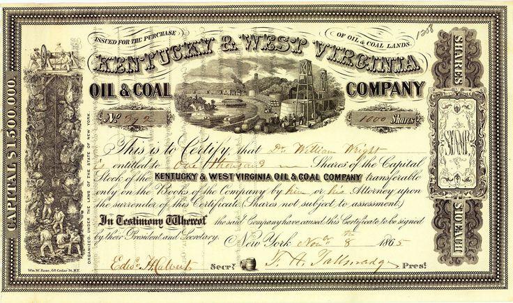 Kentucky & West Virginia Oil & Coal Co., New York, Aktie v. 1865 + HOCHDEKORATIV